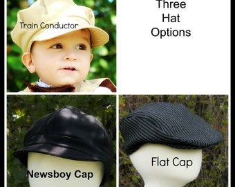Baby, Toddler Boy caps  3 styles to pick from Drivers cap, Newsboy domed cap or Train conductor cap