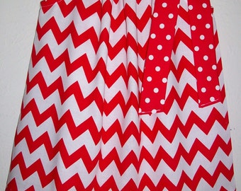Pillowcase Dress, Chevron Dress, Red and White, Nebraska Huskers, University of Wisconsin, Game Day Dress, Girls Dresses, Holiday Dresses