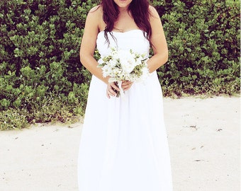 White Strapless Wedding Gown, Made to Order