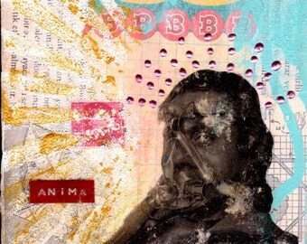 Mixed Media Collage Art ANIMA Original 5x5 Mixed Media Canvas