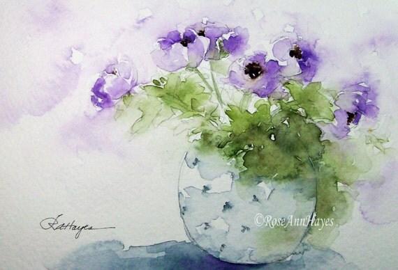 Purple Flowers In Blue Vase Print Of Watercolor By