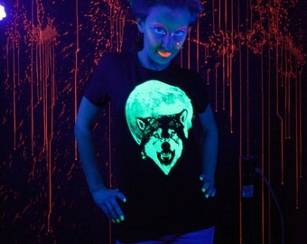 Glow in the dark Full Moon Wolf women's t-shirt, Size Small, Medium, Large or XL