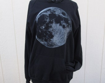 Glow in the dark Full Moon screenprint hoodie unisex sizes S M L,XL & 2XL