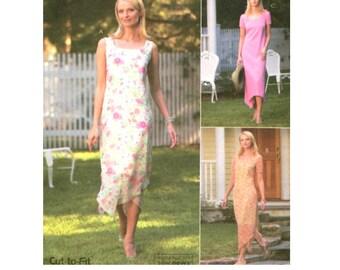 Womans Easy Dress Scoop Neckline / Hankerchief Hem - Sewing Pattern McCalls 4372 - Plus Size 14-16-18-20 Uncut