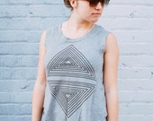 Tshirt for women | ladies graphic tee - triangle print on heather gray a-line cotton tops - Rule of Thirds - CLOSEOUT