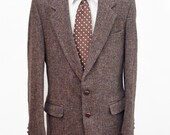 Men's Blazer / Vintage Harris Tweed Wool Jacket / Size 40 Long - Medium