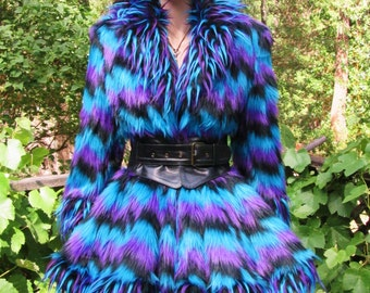 Aqua, purple, and black parallelogram faux FUR COAT with matching 3 tone spike collar, cuff, and bottom trim.