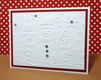 Snowman Christmas Card - Holiday Snowmen Card - Embossed Winter Snowman Card - Hand Crafted with Multiple Layers