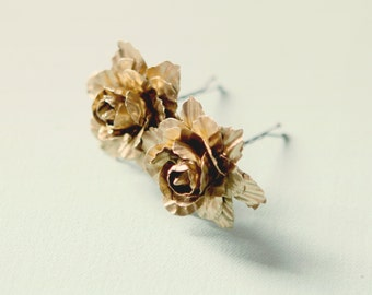 Gold flower clips, Golden clips, Bridal hair clips, Wedding accessory, Rose bobby pins