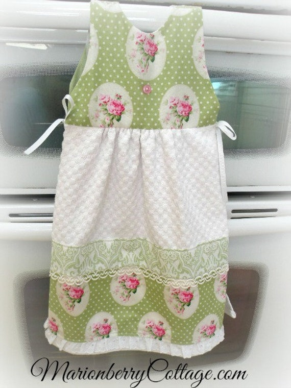 Cottage Kitchen towel OVEN Sun DRESS Shabby Cottage Chic Cameo pink roses ecs  svfteam
