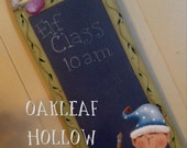 E Pattern Christmas Elf Class Chalkboard Primitive Whimsical Folk Art Terrye French Painting With Friends