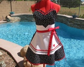 I Love Lucy Inspired Sassy Apron, Pin Up, Cosplay, Womens Plus Sizes, Handmade, Kitchen Diva, Sweetheart Bib, Costume Party