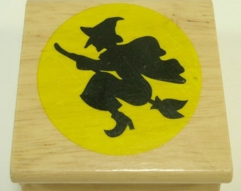 Witch Flying Across Moon Halloween Wood Mounted Rubber Stamp By The Canadian Maple Collection