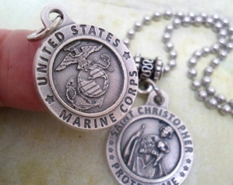 Marines Protection Necklace, St. Christopher, Patron Saint Holy Medal, Catholic Jewelry