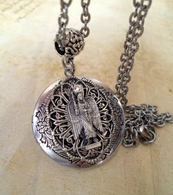 archangel michael locket necklace catholic jewelry by