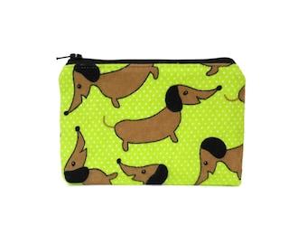 Dachshund Bag / Mini Zipper Pouch / Cute Camera Bag in Dachshund Dots on Green