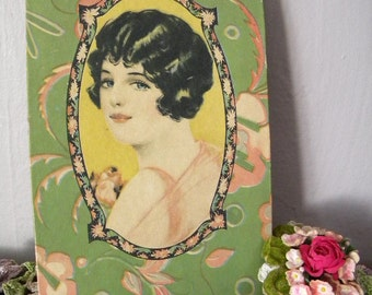 Vintage 1920's Candy Box with Lovely Flapper Girl on Lid