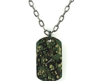 Camouflage Necklace, Mens Necklace, Mens Jewelry, Vintage Jewelry,Camouflage Peace Necklace Men's