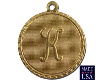 Raw Brass Letter K Initial Charm Drop with Loop (1) chr190K