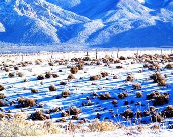 Blue Snowy Winter fields Taos sagebrush shadows  New Mexico photograph 8x12