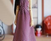 Burgundy leaf print maxi summer dress  - Slim Mini MSD BJD clothes