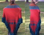 OOAK Southwest Design Fringed Wrap Shawl Sunset Red With Chocolate Brown, Blue/Green Accents - Huge!