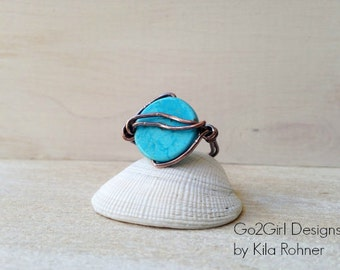 Custom Handmade Jewelry Wire Wrapped Blue Stone Ring Earthy Rustic Artisan Copper Jewelry Statement Ring Bohemian Jewelry Unisex Mens Womens