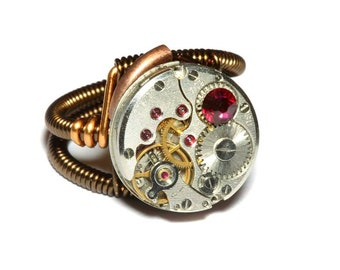 Steampunk ring, Steampunk Jewelry,  Watch Movement Steampunk Ring with ruby red crystal