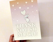 Printable PDF Thank You Card Cute Bunny & Hearts, Pink, White