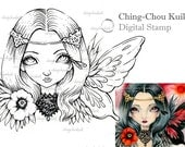 Crimson Moon - Digital Stamp Instant Download / Poppy Butterfly Fantasy Art by Ching-Chou Kuik