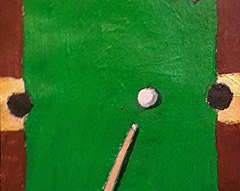 "ACEO ATC Pool Billiards Table Pool Stick Heart Ball Painting 3.5"" x 2.5"" Green Brown and Gold with Pink Heart on Card Stock"