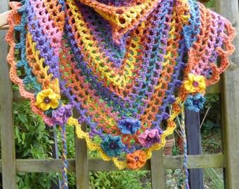 Scarf Large Sunset Colours Crochet