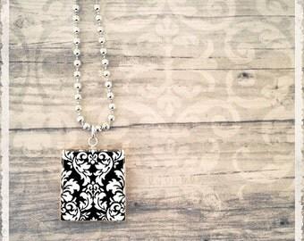Scrabble Tile Art Pendant Necklace - Black Velvet Damask - Scrabble Jewelry Charm - Customize
