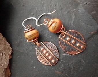 Handmade Jewelry Fold Formed Copper and Lampwork Dangle Earrings. 2.5 in. CE-16