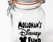 Personalized Disney Fund Vinyl Decal, Jar Decal, Custom Family name decals, Disney Savings Fund Decal, self adhesive vinyl, piggy bank decal