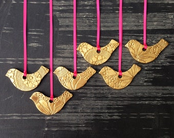 6 Christmas Ornaments Gold Ceramic Birds Christmas Hand made Tree Decorations Crochet texture Porcelain Birds Pink or Choose ribbon color