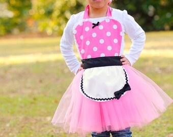 MINNIE MOUSE apron kids TUTU Dress up apron  hot pink  Polka Dots
