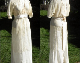 Edwardian Downton Abbey Wedding Dress Tea Gown - Silk - Small - Vintage Early 1900s
