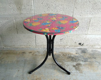 Tiki Tropical Hawaiian Decor Round Side Table Revamped