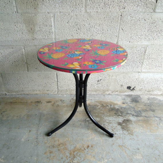Tiki Tropical Hawaiian Decor Round Side Table Revamped