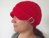 Red Newsboy Womens Newsboy Hat Newsboy Cap Crochet Newsboy Knit like with Buckle Red Hat Womens Hat Womens Fall Hat Womens Winter Hat Trendy