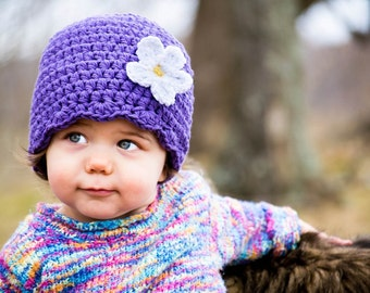 9 Sizes Purple Girls Hat Baby Hat Toddler Hat Baby Girl Hat Toddler Girl Hat Flapper Beanie Flapper Hat Purple Flower Hat 30 Flower Colors