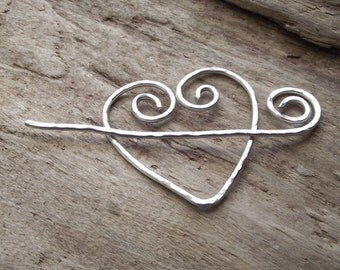 """Aluminum Heart  Spiral Stick Shawl Pin Scarf Pin Wire Hammered Silver -""""Cupid's Arrow'"""