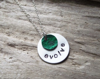 Evolve Green Tree Silver  Aluminum Hand Stamped  Hammered Round Pendant Necklace Jewelry on Chain