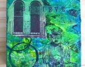 "Buddha original wood folk art block painting / collage Blue and Green ""Believe"""