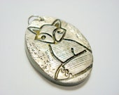 Sly Silver and Black Fox Handmade Polymer Clay Pendant