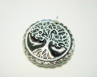 Black and White Yggdrasil Tree of Life With Roots Handmade Polymer Clay Pendant or Focal Bead