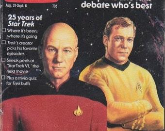 Vintage TV Guide Magazine 1991 - Star Trek - Captain Kirk vs. Picard