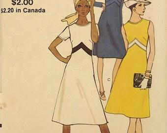 Vintage 60's Sewing Pattern, Misses A-line Dress, Size 14