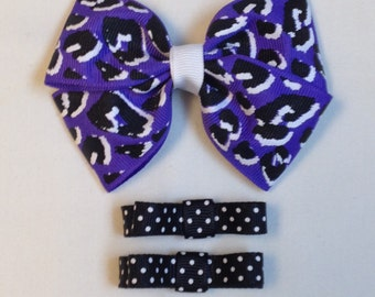 Black And Purple Hair Bow|Purple Hair Bow|Girls Hair Clips|Barrettes And Clips|Toddler Purple Bow|Black Hair Clips